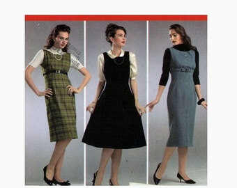 Retro 1950s dress or jumper with skirt pattern in 3 styles Simplicity 3673 sewing pattern Size 14 to 22 uncut