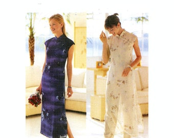 90s Cheongsam dress sewing pattern Butterick 6057 bridesmaid or bride Asian style wedding Designer David Warren Sz 8 to 12