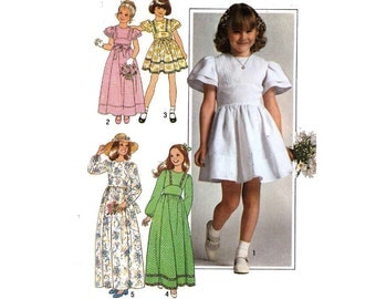 Flower girl dress vintage sewing pattern Simplicity 7954 Sz 7 and 8