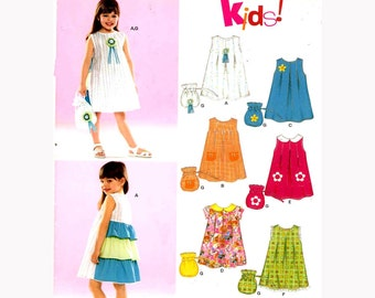 Girls dress and bag sewing pattern New Look 6505 Sz 3 to 8