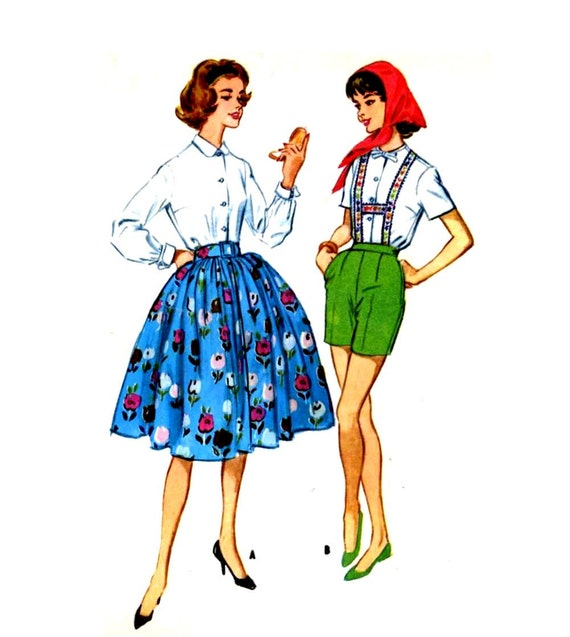 50s Vintage McCalls 5341 Bust 33 sewing pattern skirt blouse shorts suspenders Lederhosen