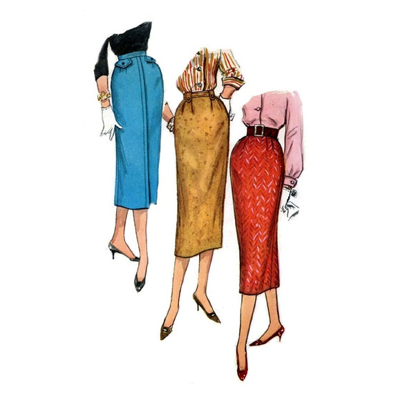 50s pencil skirt sewing pattern simplicity 2196 waist 25