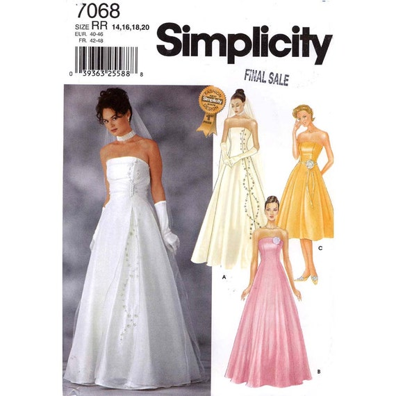 Wedding gown or bridesmaid gowns Simplicity 7068 sewing pattern Sz 14 to 20