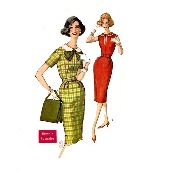 1960s one piece dress sewing pattern Simplicity 3506