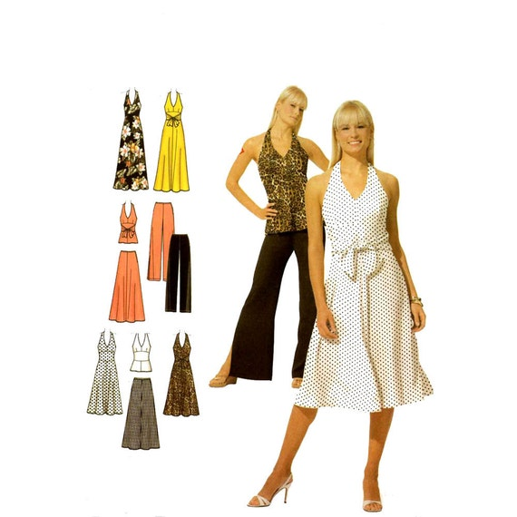 Halter dress pants top skirt sewing pattern McCalls 4998 Sz 14 to 20