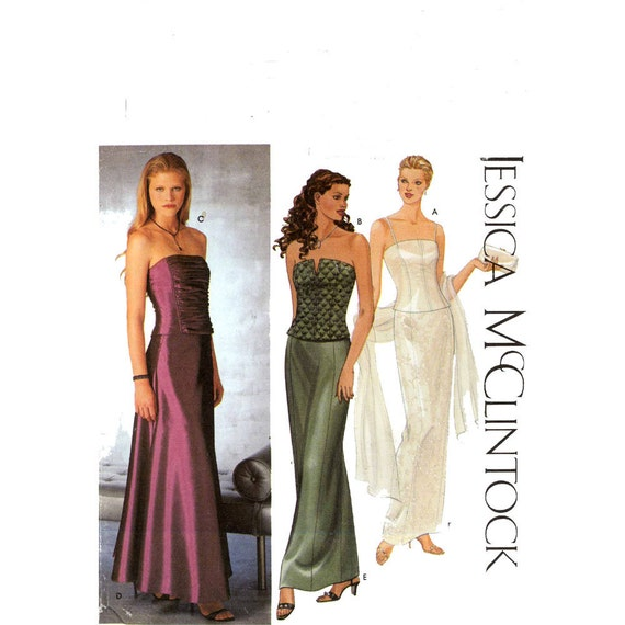 Jessica McClintock bustiers and skirt sewing pattern Simplicity 9484 Sz 4 to 10 Uncut