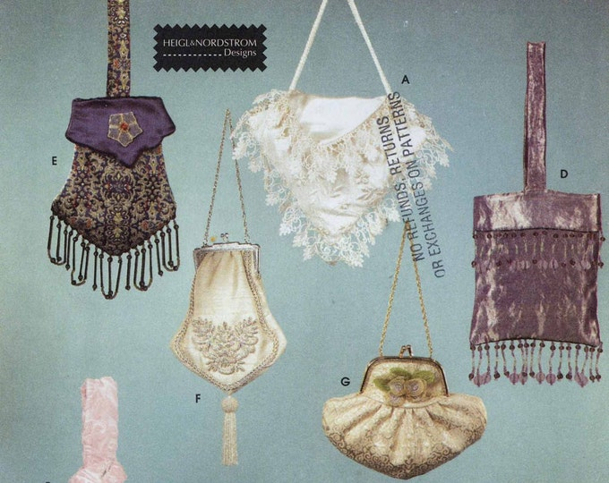 Brides beaded bags Simplicity 9233 retro sewing pattern costume collection evening purse muff hand warmer UNCUT