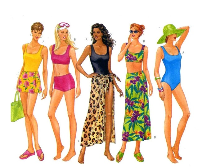 90s Butterick 5551 swimsuit and cover up sewing pattern Bust bust 40 to 44 UNCUT