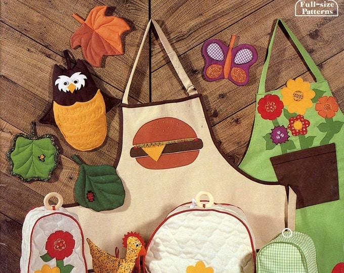 Owl leaf potholders Summer Barbeque hamburger apron Sew a Country Kitchen sewing pattern booklet