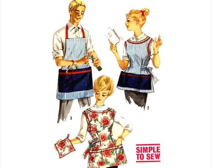Mens womens apron full style pot holder vintage sewing pattern Simplicity 3206 Size Large Bakers Chefs Moms Dads aprons
