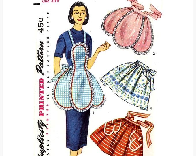 Simplicity 4479 1950s half and full apron sewing pattern 50s Housewife Chefs Apron