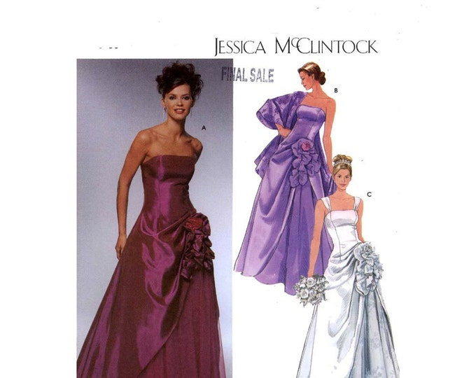 Wedding dress Evening gown Jessica McClintock sewing pattern Simplicity 5671 size 12 to 18 uncut