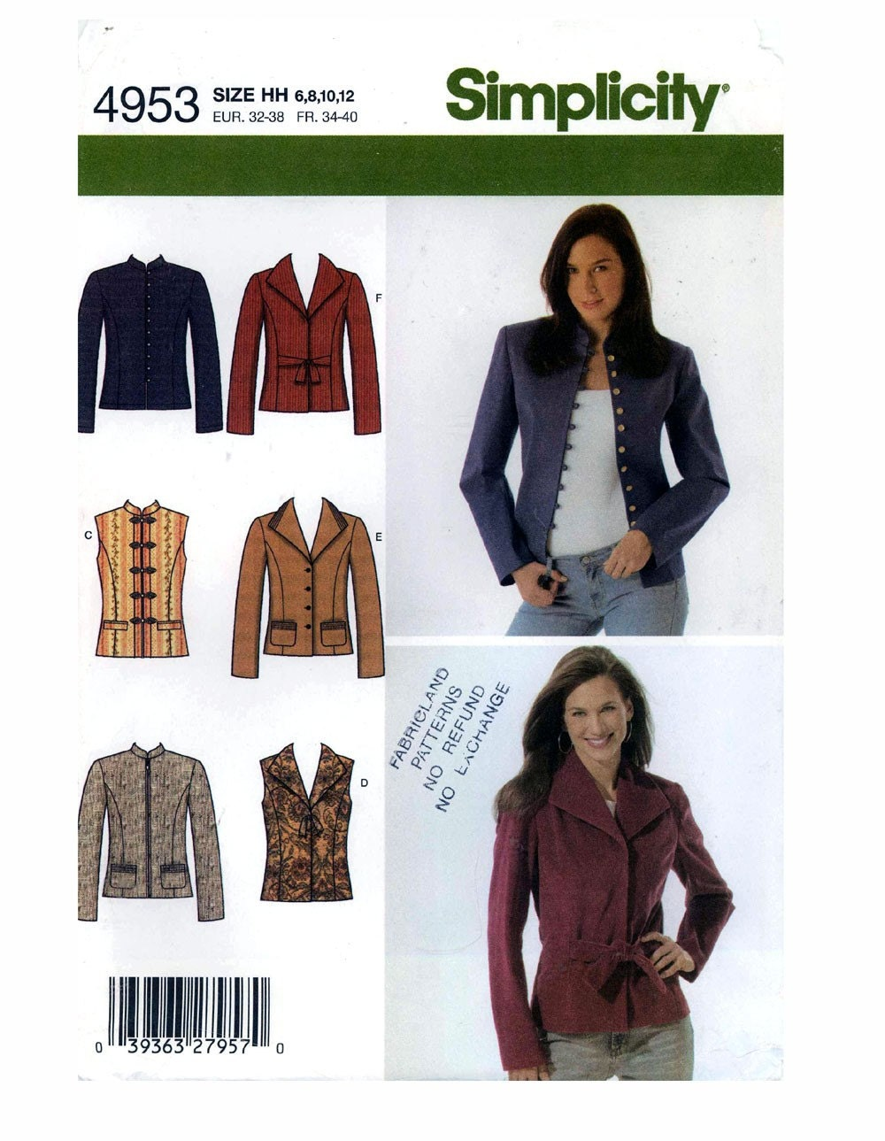 Simplicity 4953 Womens Vest And Jacket Sewing Pattern Bust 30