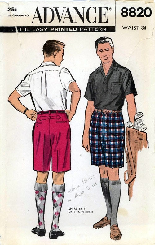 Vintage Advance 8820 sewing pattern for Men's shorts size