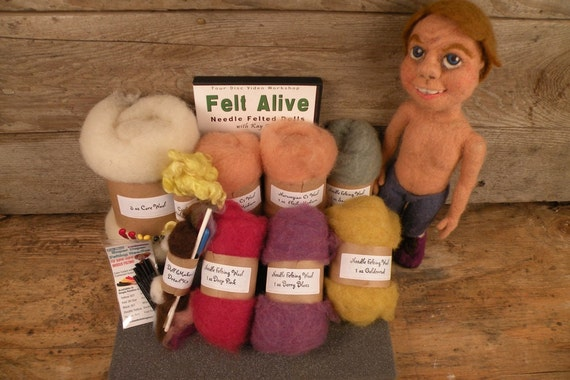 Needle Felted Dolls Kit with Video Tutorial on DVD