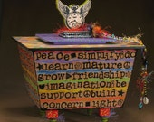 Box Time Flies Message Handmade Rainbow Art Box Urn