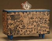 Tea Box Teabag Kitchen Storage Rubber Stamped