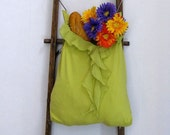 Tote Bag Lime Green Frilly Hand Held Bag by Fashion Green T Bags