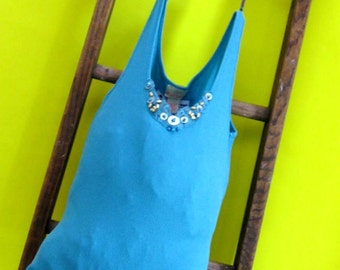 Tote Bag Turquoise Glimmer Reusable Bag/ Tote