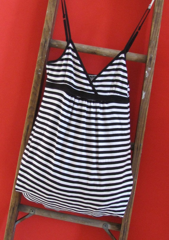 Tote Bag Black and White Striped Market Tote by Fashion Green T Bags