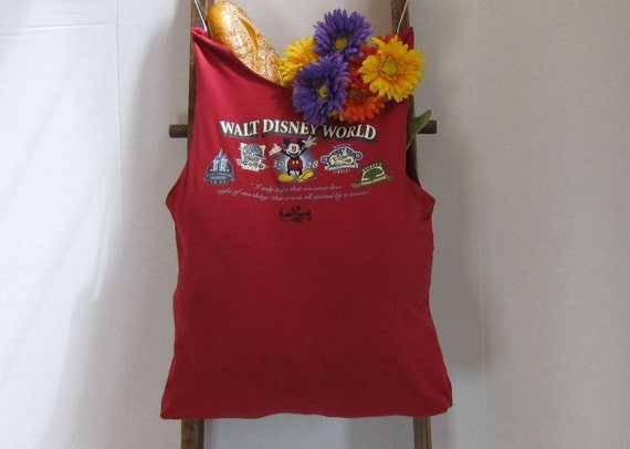 Grocery Market Tote Mickey Mouse Embroidered T-Shirt Bag by Fashion Green T Bags