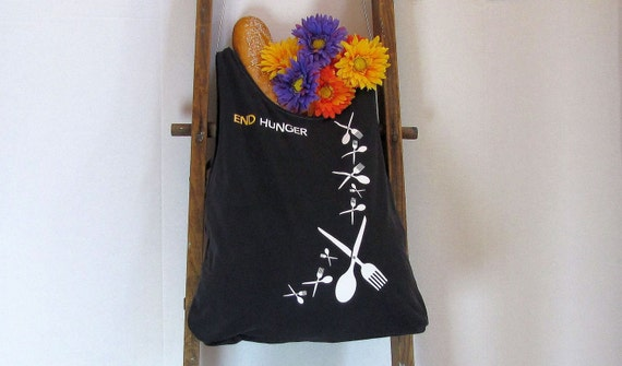 Hand-held End Hunger Market Bag by Fashion Green T Bags