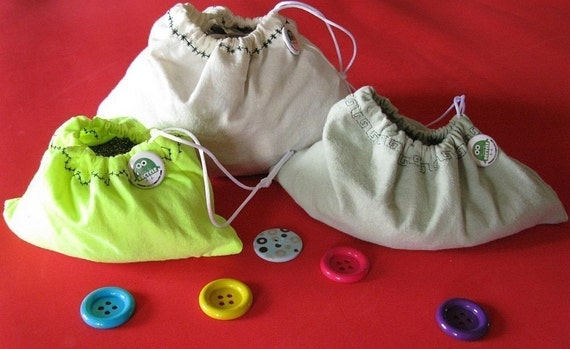 Cotton Produce Bags Three Green Sleeves  by Fashion Green T Bags
