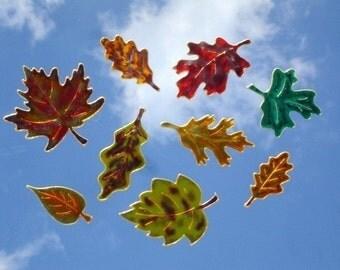Colorful Autumn Leaves- Window Art suncatcher clings, decals