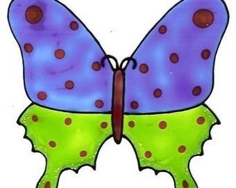 Butterfly Blue\/Green- Family Window Art