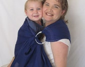 Ring Sling Baby Carrier - Pure LINEN- Indigo Blue- included DVD