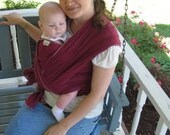 Baby Sling Woven Baby Wrap Carrier - Airy Cotton Gauze in Cranberry, lightweight babywearing, summer wrap, cool, neutral color, maroon