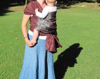 Silk Baby Wrap - Woven nonstretch Carrier - Pure Silk w nonsilk brocade panel - DVD included