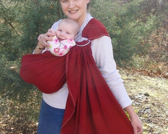 Ring Sling Baby Carrier - Cranberry Tencel Twill Ring Sling w DVD