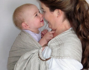 Linen Ring Sling -decorative stitching - Baby Sling Carrier - Natural Color - Pure Linen - DVD included - 20 colors in shop