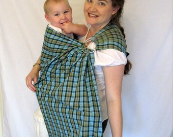 Ring Sling Baby Sling Carrier - Aqua and Green Plaid Cotton Double Layer sling - DVD included