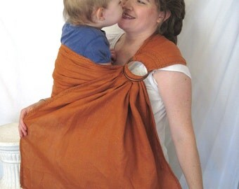 Baby Sling Ring Sling - decorative stitching - Baby Carrier - LINEN in Apricot  - DVD included -toddler sling, summer, baby shower gift