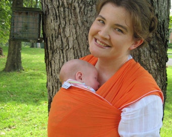 Cotton Gauze Baby Wrap Carrier -Nonstretchy Cotton in perky Flame Orange - 20 choices in shop - babywearing DVD included
