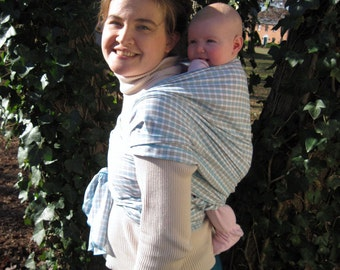 Non Stretchy Wrap Baby Sling Carrier - Lightweight Gray/Aqua Check Cotton - DVD included