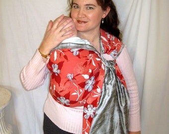 Silk Ring Sling w Cotton Reverse side, 2 layer sling, baby, toddler, carrier - DVD included and pocket, DVD included