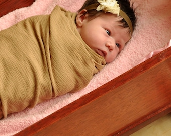 GET 2 - Newborn Photography Props - 2 Airy OVERSIZED Gauze Blankets w rolled edge