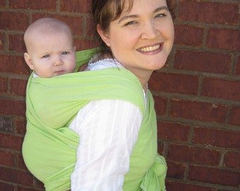 Cotton Gauze Baby Wrap - Spring Green - - DVD included - 5 or 6 yard length
