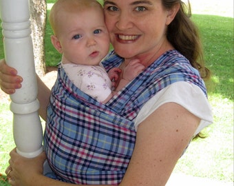 Gauze Baby Wrap  - Cotton Lightweight Wrap in Periwinkle Plaid - DVD included
