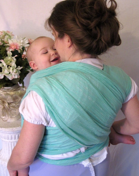 Woven Wrap Baby Sling Carrier - Mint with Silver - Airy Cotton Gauze - DVD, too
