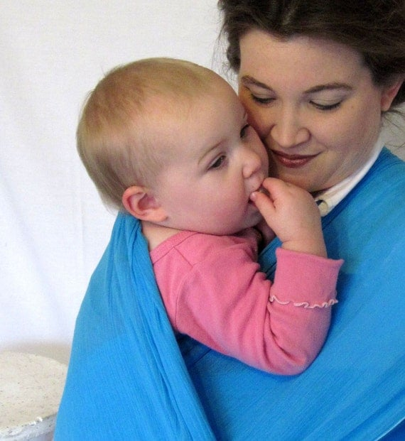 Gauze Baby Wrap - Baby Carrier Sling - Deep Aqua color - DVD included