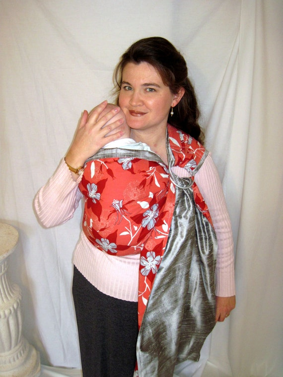 Sale Silk Ring Sling w Cotton Reverse side, 2 layer sling, baby, toddler, carrier - DVD included AND pocket
