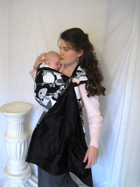 Ring Sling Baby Carrier Cotton and Silk - -Reversible Yoko and midnight Silk - w pocket - tutorial DVD