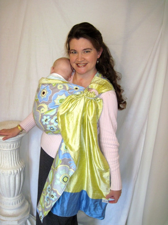 Ring Sling Baby Carrier Cotton and Silk - -Reversible Spring Walk and Silk - w pocket - tutorial DVD