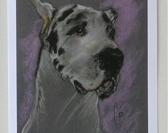 Harlequin Great Dane Dog Art Note Cards By Cori Solomon