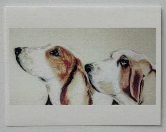 Two Basset Hounds in Profile Dog Art Note Cards By Cori Solomon