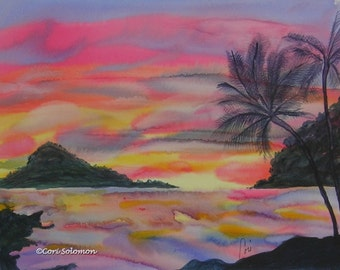 Hawaiian Coastal Sunset Beach Watercolor Original Art By Cori Solomon
